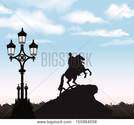 St. Petersburg city landmark Russia. Peter the Great Monument Saint Petersburg russian cityscape background.