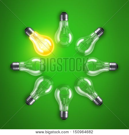 Group of lamp bulbs circle on green background. 3D illustration