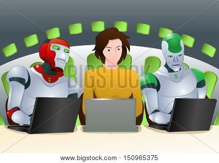 illustration of a two droid robot and woman learning laptop on room background