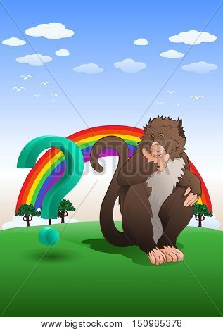 illustration of an adorable baboon monkey sitting with question mark in nature background