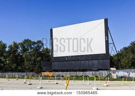 Old Time Drive-In Movie Theater with Outdoor Screen and Playground I