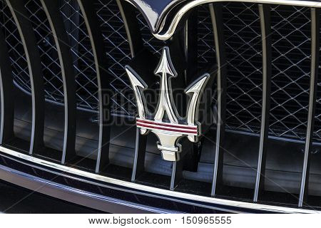 Indianapolis - Circa October 2016: Maserati Trident Logo. Maserati Is A Luxury Car Manufacturer Base