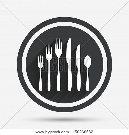 Dessert fork, knife, teaspoon sign icon. Cutlery collection set symbol. Circle flat button with shadow and border. Vector