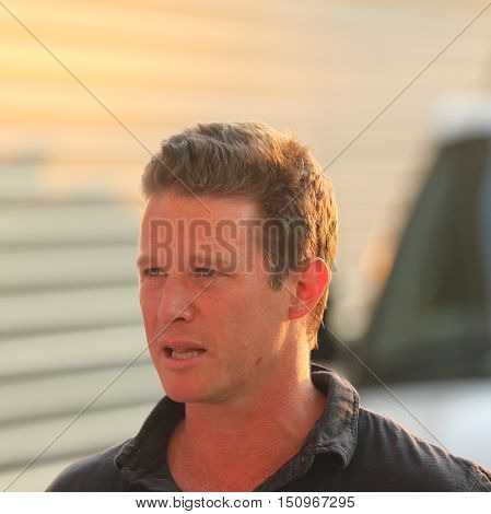 NEW YORK - SEPTEMBER 8, 2016: TV personality Billy Bush attends US Open 2016 semifinal match between Serena Williams and Karolina Pliskova at USTA Billie Jean King National Tennis Center in New York