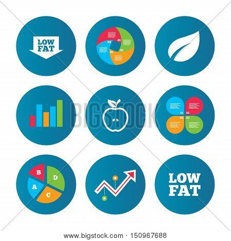 Business pie chart. Growth curve. Presentation buttons. Low fat arrow icons. Diets and vegetarian food signs. Apple with leaf symbol. Data analysis. Vector