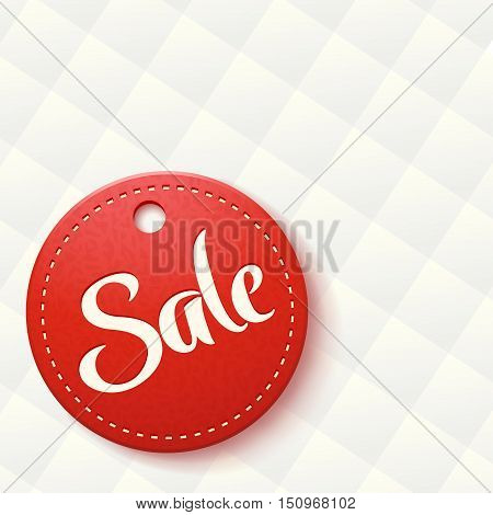 illustration of red round label with rhombus background
