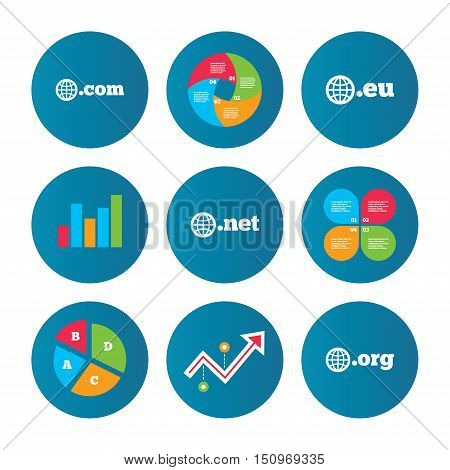 Business pie chart. Growth curve. Presentation buttons. Top-level internet domain icons. Com, Eu, Net and Org symbols with globe. Unique DNS names. Data analysis. Vector