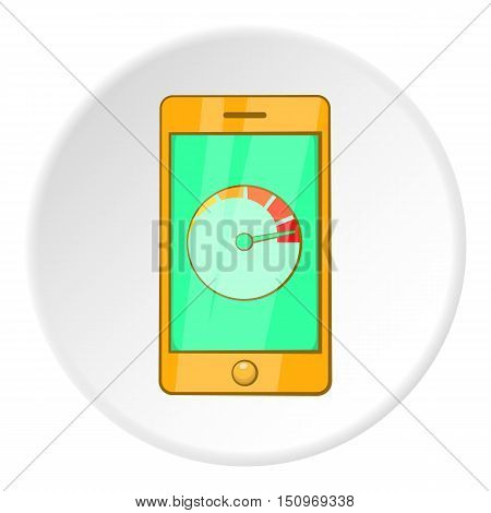 Battery indicator on phone icon. Cartoon illustration of battery indicator on phone vector icon for web