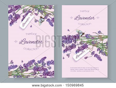 Lavender natural cosmetics vertical banners on lilac background. Design for cosmetics, store, beauty salon, natural and organic products, health care products, aromatherapy. Vector illustration