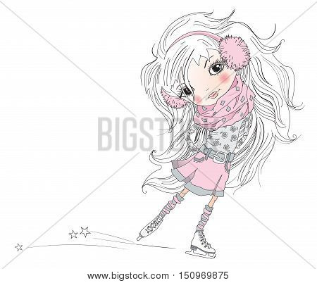Vector illustration of cartoon pretty little girl. Child with beautiful white hair is skating isolated on white. Best design for children