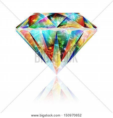 Design Element Realistic Colorful Iridescent Gemstone Crystal