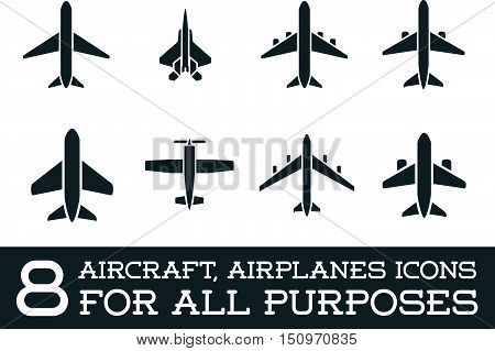 Aircraft Or Airplane Icons Set Collection Vector Silhouette.set Colletion