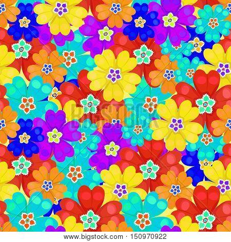 Seamless Pattern Bright Spring Polyanthus Primula Flowers. Vector Illustration
