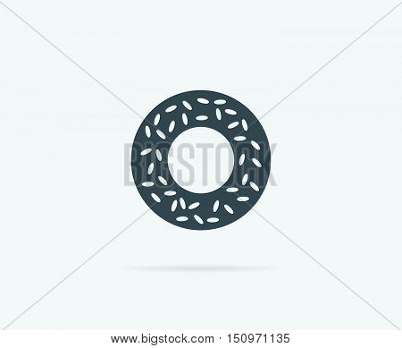 Bagel With Sesame Vector Element Or Icon, Illustration Ready For Print Or Plotter Cut Or Using As Lo