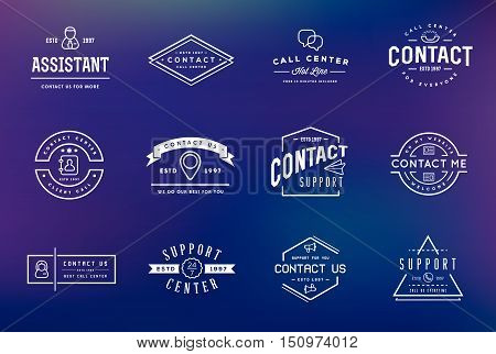 Set Of Contact Us Service Elements And Assistance Support Can Be Used As Logo Or Icon In Premium Qua
