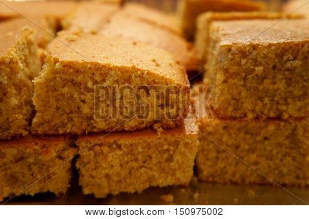 Close Up of Slices of Sweet Cornbread