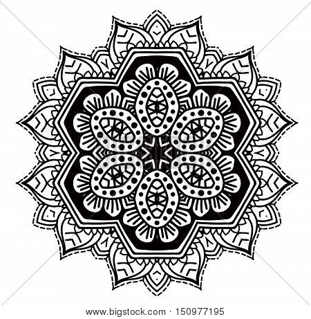 Ethnic Fractal Mandala Vector Meditation Looks Like Snowflake Or Maya Aztec Pattern Or Flower Too Is