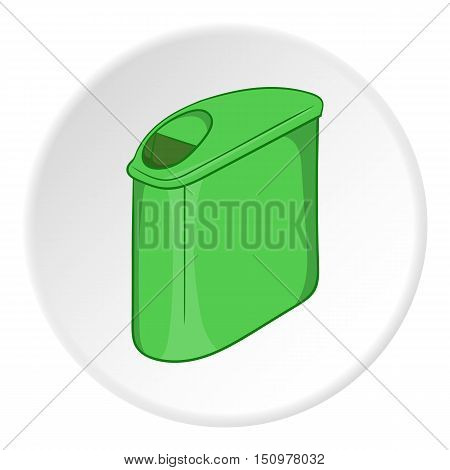 Trash can with lid icon. Cartoon illustration of trash can with lid vector icon for web
