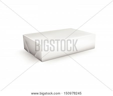 Vector Blank White Foil Food Packaging Llustration Isolated Mock Up Template Package Ready For Custo