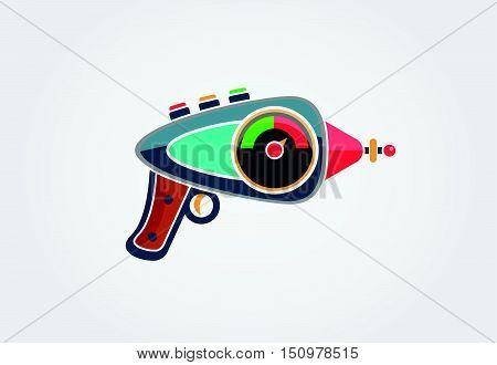 Ray gun cartoon. Supergun. Vector eps 10