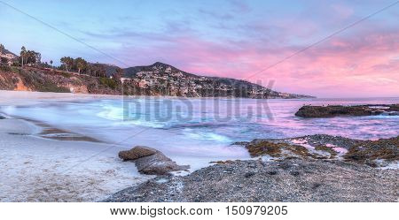 Sunset view of Treasure Island Beach at the Montage in Laguna Beach, California, United States