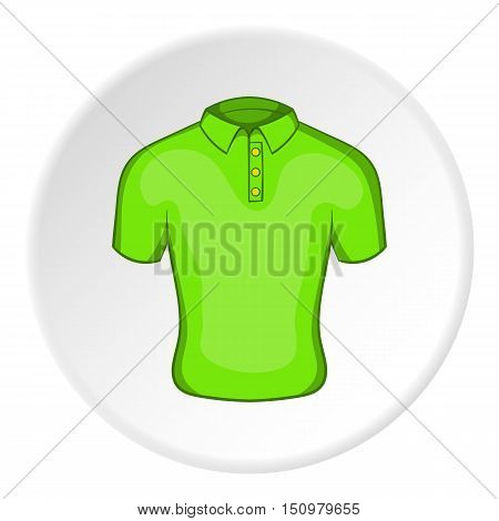 Men green polo icon. Cartoon illustration of men green polo vector icon for web
