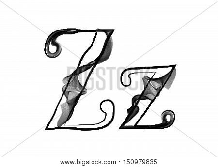 Vector Smoke Or Haze Letter Font Type, Two Letters