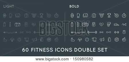 Set Of Thin And Bold Vector Fitness Aerobics Gym Elements And Fitness Icons Illustration Can Be Used