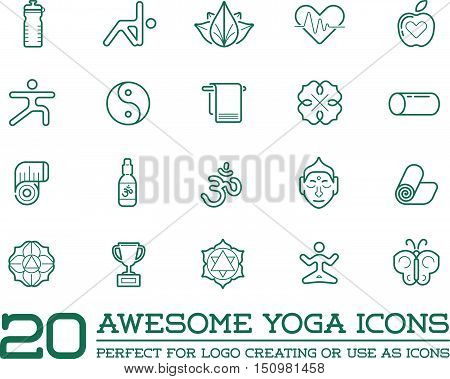 Set Of Vector Yoga Zen Sport Elements And Fitness Healthy Illustration Can Be Used As Logo Or Icon I