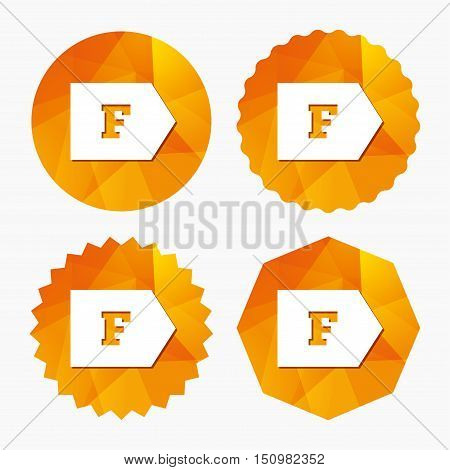 Energy efficiency class F sign icon. Energy consumption symbol. Triangular low poly buttons with flat icon. Vector