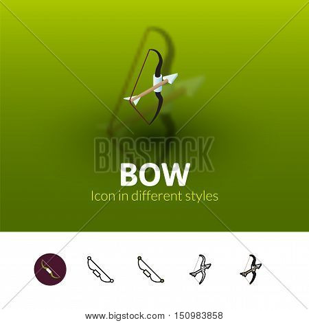 Bow color icon, vector symbol in flat, outline and isometric style isolated on blur background