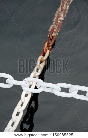 Close up of industrial white iron chain