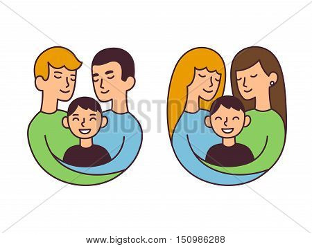 Cute cartoon homosexual couples with children isolated vector illustration. Same sex family and adoption concept.