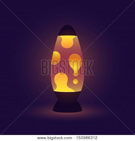 Vintage lava lamp realistic vector illustration on dark background.