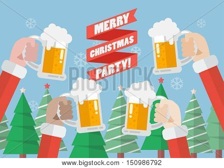 Merry christmas party. Santa clinking beer glasses