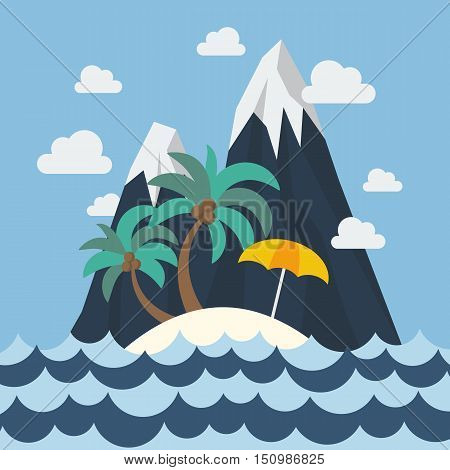 Summer beach and mountain in flat style
