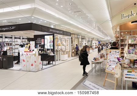 KANAZAWA JAPAN - OCTOBER 7, 2016: Unidentified people shop at Hyakubangai shopping mall at Kanazawa train station.