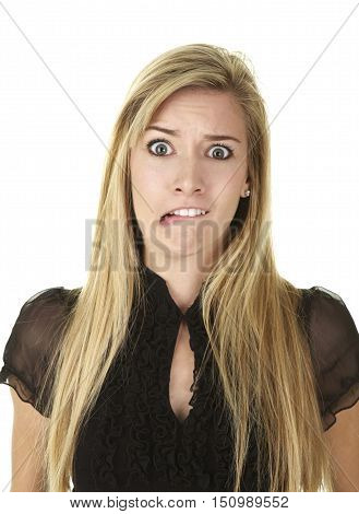 Beautiful Young Blonde Woman on a White Background.  She is making a funny expression as if something shocks her.