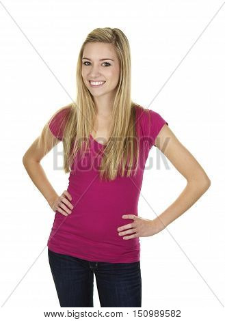 Beautiful Young Blonde Woman on a White Background.  She is standing with her hands on her hips and a smile.