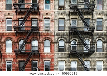 Old Brick Apartment Buildings in the East Village of Manhattan New York City