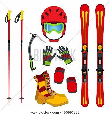 Helmet gloves ski boots pads ice pick in flat style. Equipment for skiing snowboarding mountain hiking in vector style. Winter extreme sports set.