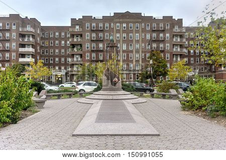 New York City - Oct 1, 2016: Holocaust Memorial Mall at the water'€™s edge of Brooklyn'€™s Sheepshead Bay.