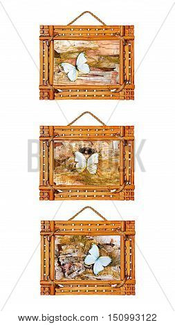 Three bamboo photo frames isolated on white background. Closeup.