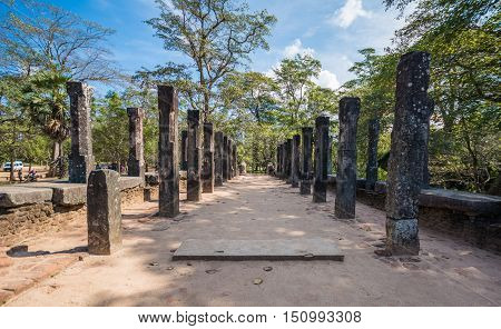 Ancient City of Polonnaruwa, stone pillars at the Audience Hall at Parakramabahu's Royal Palace, Sri Lanka, Asia.