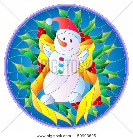 Illustration in stained glass style with a funny snowman ribbon and Holly branches on a blue background round picture frame