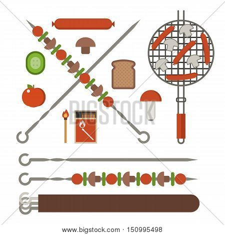Vegetarian picnic and barbeque appliances. Barbecue skewer, bbq grill grates with sasuges, fire sticks, champignon mushrooms, grilled bread and vegetables.