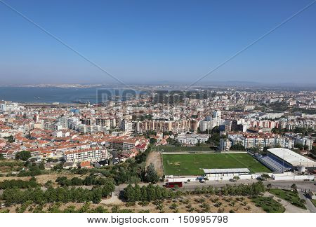 Lisbon, Portugal - July 28, 2016: View from Cristo Rei Statue to Almada and Lisbon. Portugal