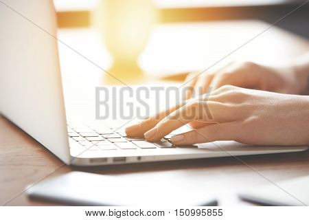 Close-up Photo Of Neat And Elegant Hands Of Woman During Work On The Digital Device. Inspiring Photo