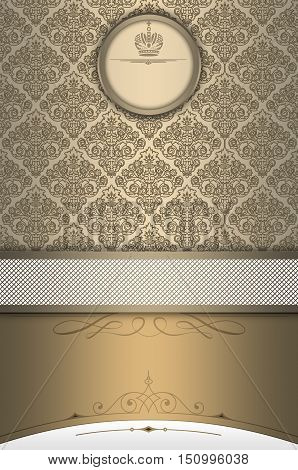 Vintage background with decorative borderframe and pattern.