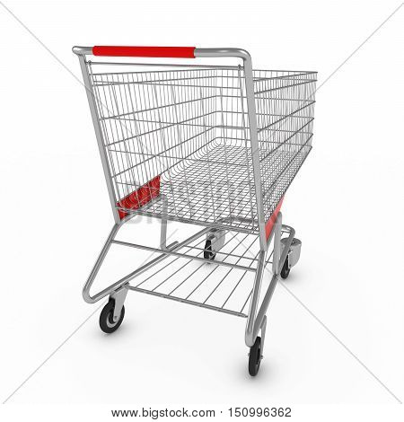 Supermarket Shopping Cart On White Background With Shadows 3D Illustration